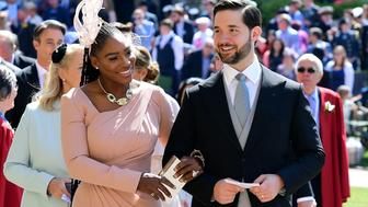 US tennis player Serena Williams and her husband Alexis Ohanian arrive for the wedding ceremony of Britain's Prince Harry, Duke of Sussex and US actress Meghan Markle at St George's Chapel, Windsor Castle, in Windsor, on May 19, 2018. (Photo by Ian West / POOL / AFP)        (Photo credit should read IAN WEST/AFP/Getty Images)