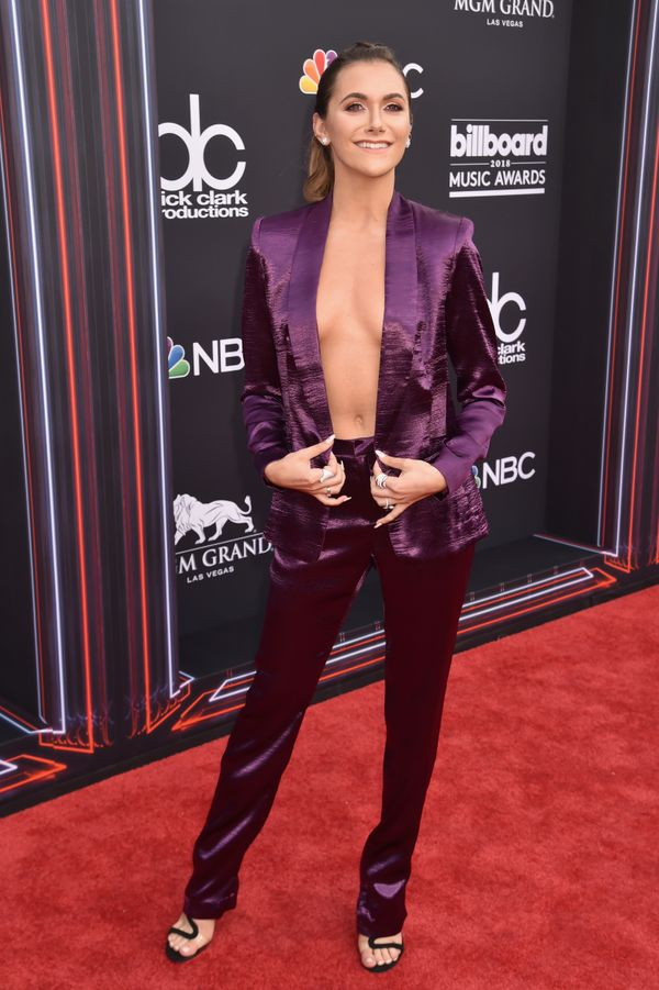 "No shirt? No problem, for dancer Alyson Stoner, who went with a modern ""Purple Rain"" vibe for the show."