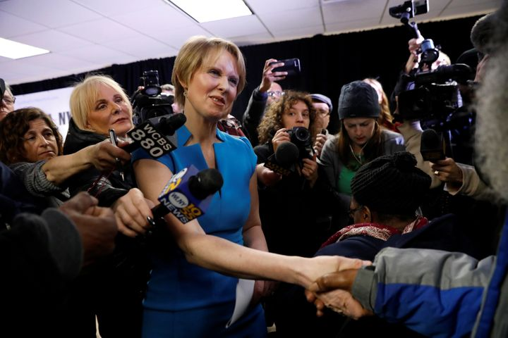 Cynthia Nixon is seen at a campaign stop in Brooklyn in March after announcing her run for governor of New York.