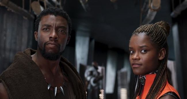 "Chadwick Boseman as T'Challa and Letitia Wright as Shuri in ""Black Panther."""