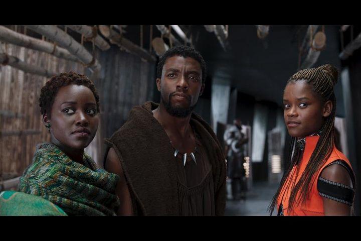 Chadwick Boseman as T'Challa and Letitia Wright as Shuri in