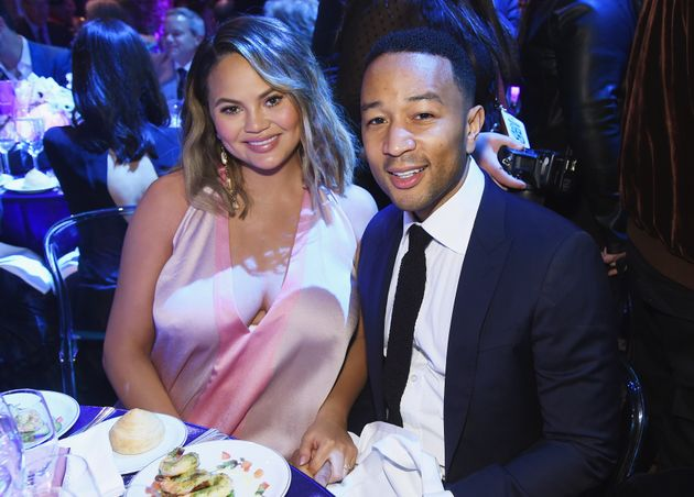 Chrissy Teigen and John Legend pictured weeks before they welcomed their new