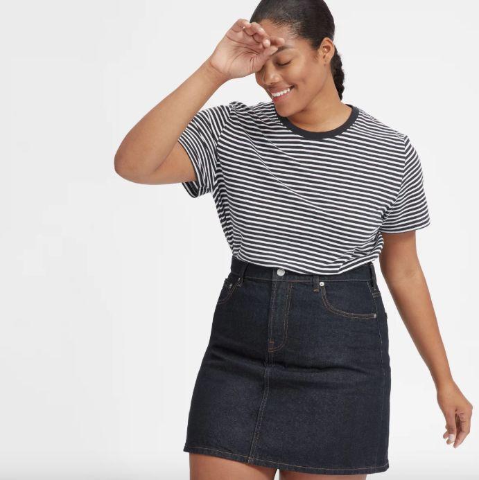 """Denim skirt in 'dark indigo rinse.' Get it <a href=""""https://www.everlane.com/products/womens-denim-skirt-darkindigorinse?collection=womens-newest-arrivals"""" target=""""_blank"""">here</a>, $58."""
