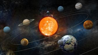 'Solar system model with sun at the center, nine planets and moon orbiting. High resolution 3D render.Opacity and bump textures for the earth and other planets map prepared via tracing images from www.nasa.gov.Earth texture:http://veimages.gsfc.nasa.gov/2431/land_ocean_ice_cloud_2048.jpg'