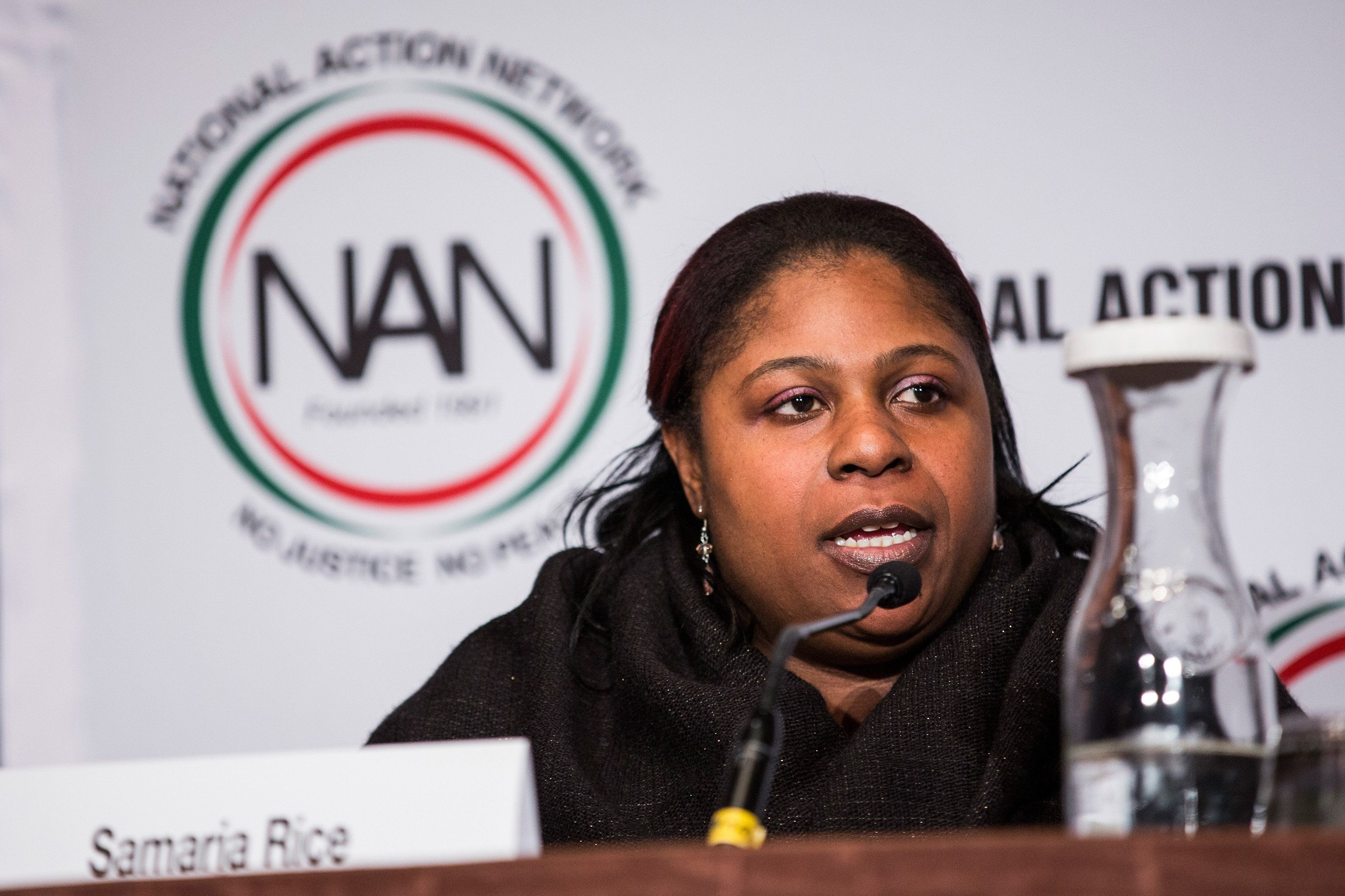 NEW YORK, NY - APRIL 08:  Samaria Rice, mother of Tamir Rice- who was shot to death by a police officer - speak on a panel titled 'The Impact of Police Brutality - The Victims Speak' at the National Action Network (NAN) national convention on April 8, 2015 in New York City. Reverend Al Sharpton founded NAN in 1991; the convention hosted various politicians, organizers and religious leaders to talk about the nation's most pressing issues.  (Photo by Andrew Burton/Getty Images)