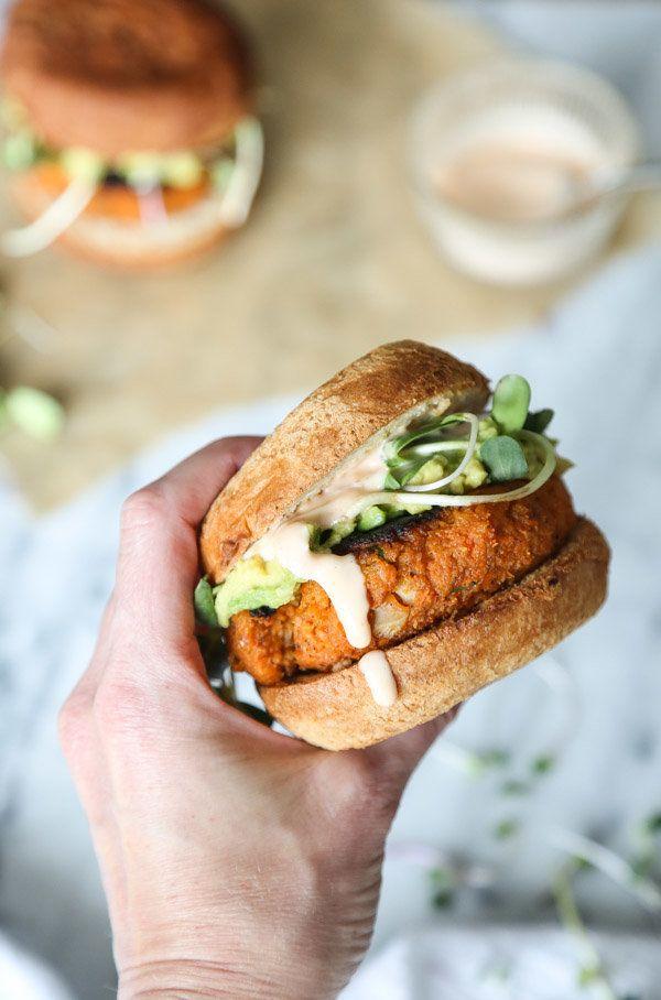 "<strong>Get the <a href=""https://feedmephoebe.com/cauliflower-sweet-potato-burgers-avocado-sriracha-aioli-vegetarian-paleo/"""