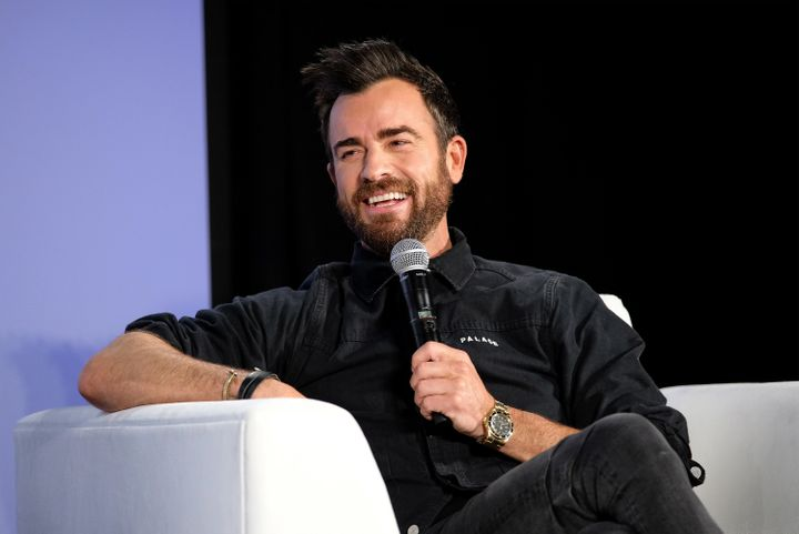 "Justin Theroux shooting ""Getting Curious With Jonathan Van Ness Live"" at the Vulture Festival in New York Ci"