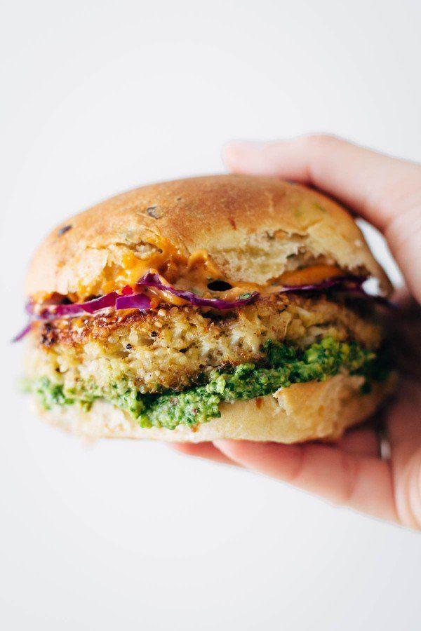 "<strong>Get the <a href=""https://pinchofyum.com/spicy-cauliflower-burgers"" target=""_blank"">Spicy Cauliflower Burgers</a> reci"
