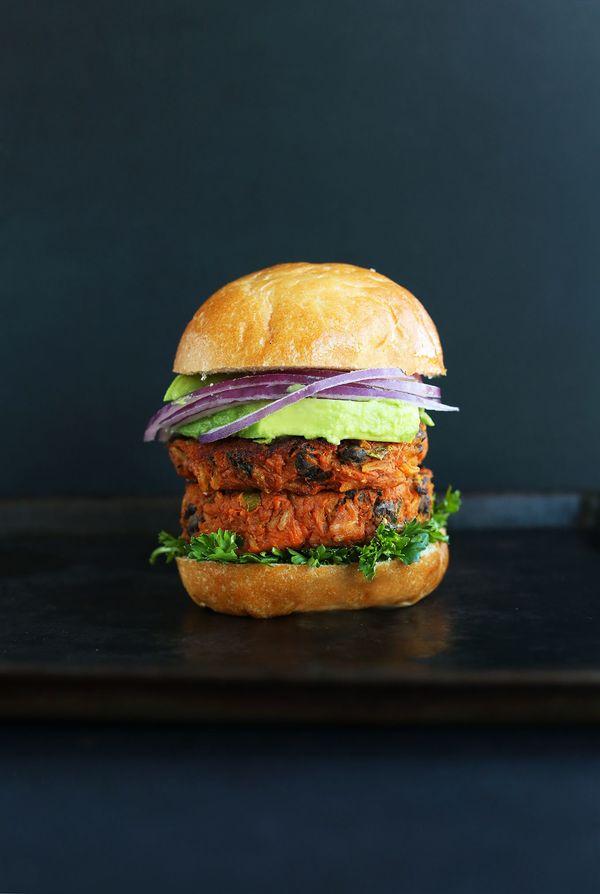 "<strong>Get the <a href=""https://minimalistbaker.com/sweet-potato-black-bean-burger/"" target=""_blank"">Sweet Potato Black Bean"