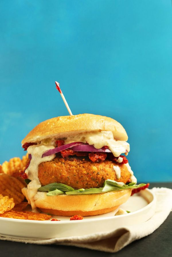 """<strong>Get the <a href=""""https://minimalistbaker.com/sun-dried-tomato-chickpea-burgers/"""" target=""""_blank"""">Sun-Dried Tomato Chi"""