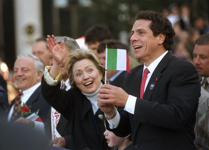 Then-Housing and Urban Development Secretary Andrew Cuomo is seen with then-New York Senate candidate Hillary Clinton during