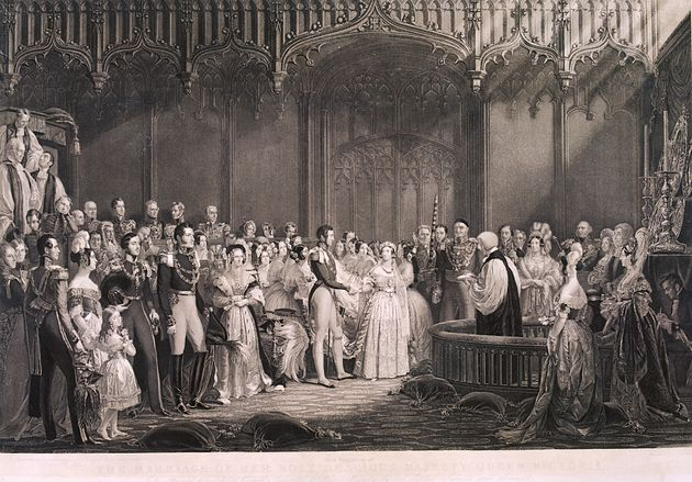 Queen Victoria weds Prince Albert at St. James's Palace in 1840. She had been escorted down the aisle...