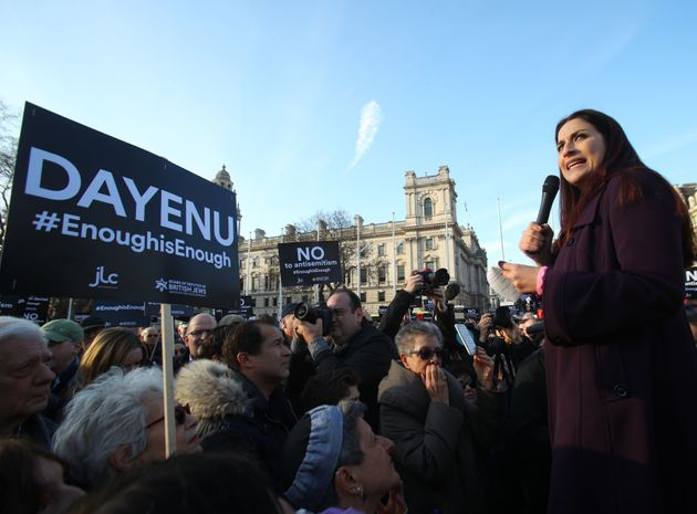 Labour MP Luciana Berger joins a Jewish protest in Parliament