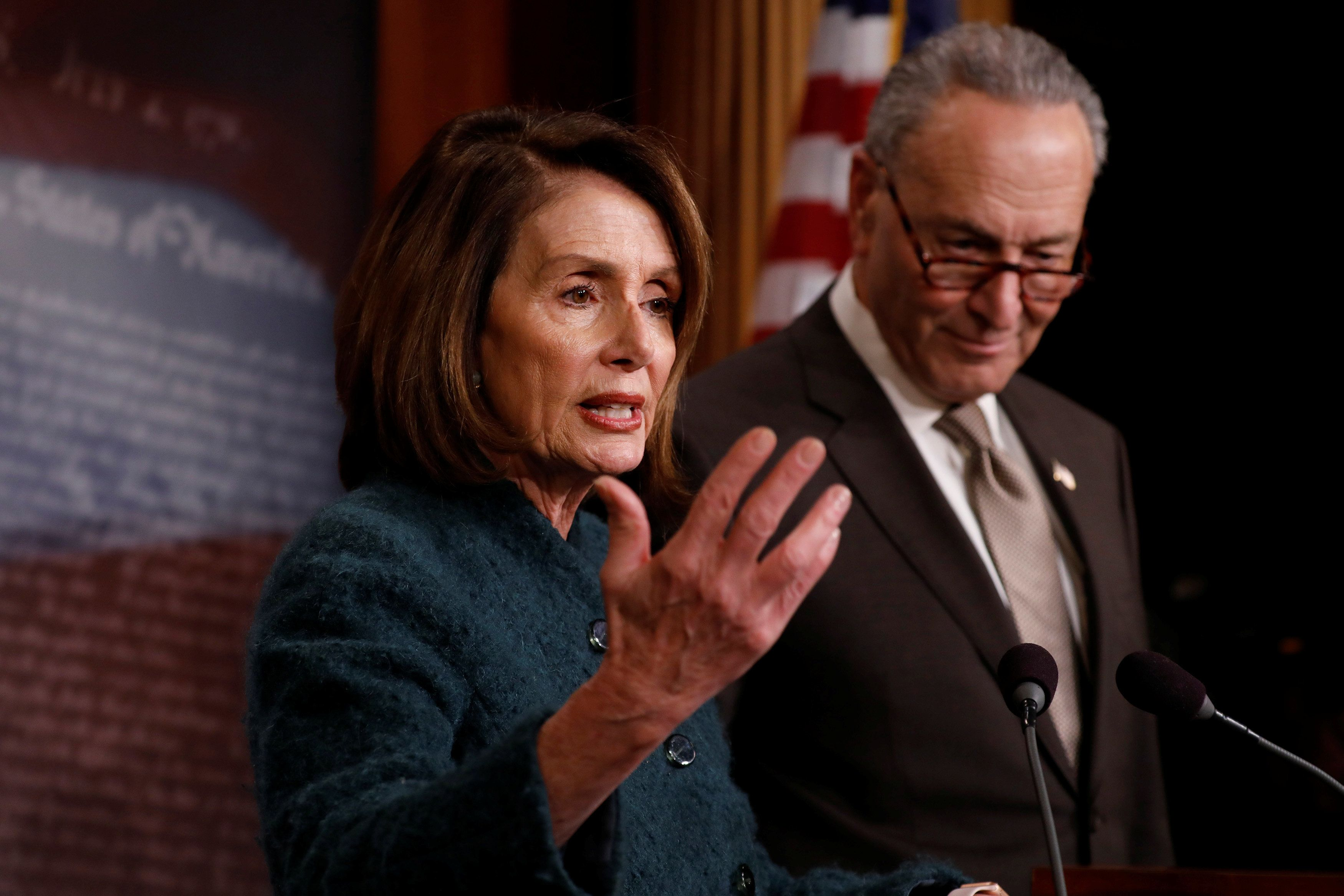 House Minority Leader Nancy Pelosi (D-Calif.) and Senate Minority Leader Chuck Schumer (D-N.Y.) at a news conference in March