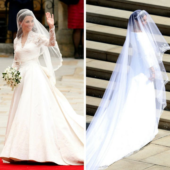 The Duchess of Cambridge to the left, the Duchess of Sussex to the right.