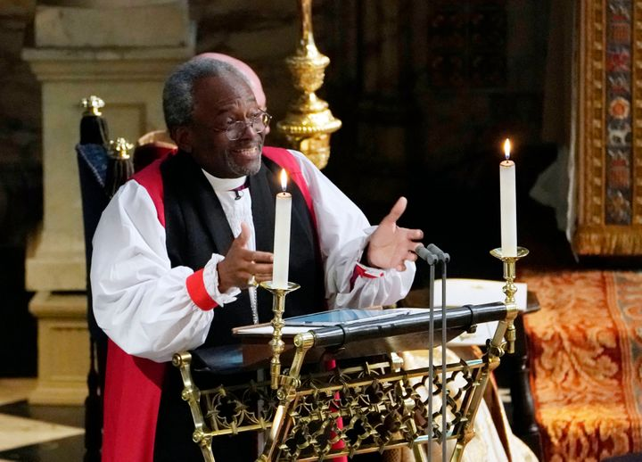 "Michael Curry, the first black presiding&nbsp;bishop&nbsp;of the&nbsp;Episcopal Church&nbsp;in the&nbsp;U.S., delivered a spirited sermon that&nbsp;<a href=""https://www.huffingtonpost.com/entry/michael-curry-royal-wedding-sermon_us_5b000b1ce4b07309e0585911"" target=""_blank"">cited Martin Luther King Jr.</a>"
