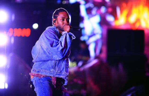 Kendrick Lamar performing at Coachella in Indio, California, in