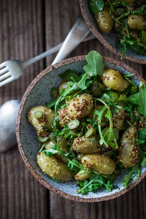 """<strong>Get the <a href=""""https://www.feastingathome.com/warm-potato-salad-with-mustard-seed-dressing/"""" target=""""_blank"""">Warm P"""