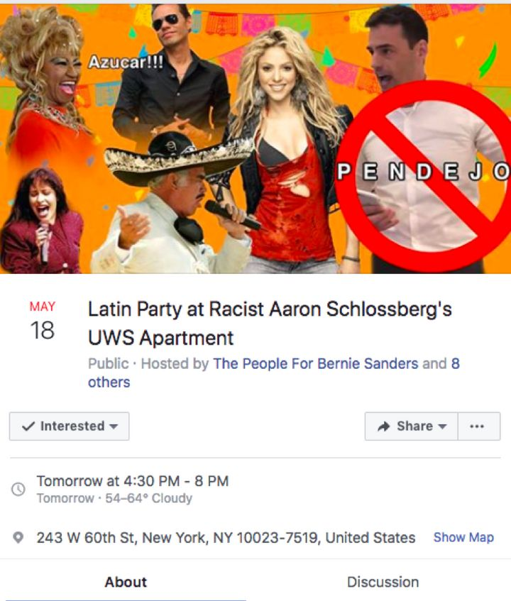A Facebook invite to a protest against attorney Aaron Schlossberg.