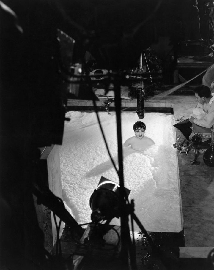 "Claudette Colbert bathed nude in milk in the 1932 film ""The Sign of the Cross."""
