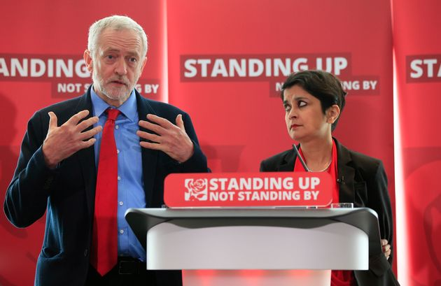 Jeremy Corbyn and Shami Chakrabarti at the launch of her report into