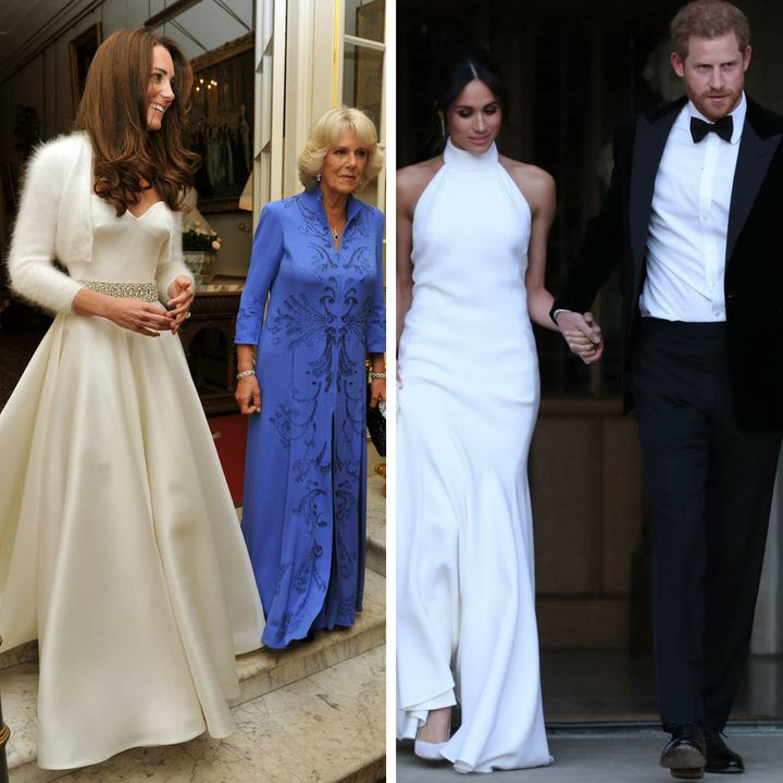 The two royal brides' evening choices.