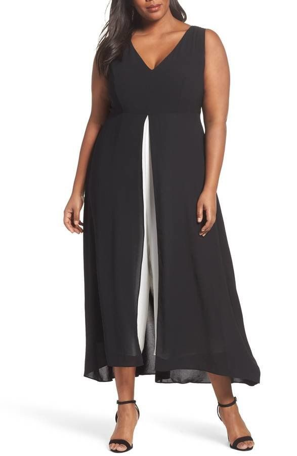 "<strong>Sizes</strong>: 14W to 24W<br>Get it <a href=""https://shop.nordstrom.com/s/adrianna-papell-colorblock-v-neck-jumpsuit"