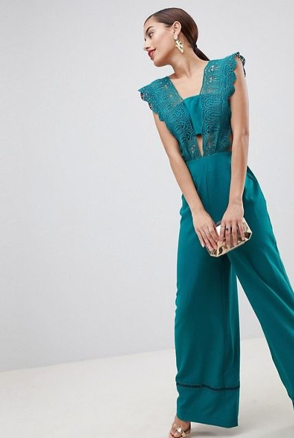 "<strong>Sizes</strong>: 0 to 14<br>Get it <a href=""http://us.asos.com/asos/asos-design-lace-top-jumpsuit-with-wide-leg/prd/94"