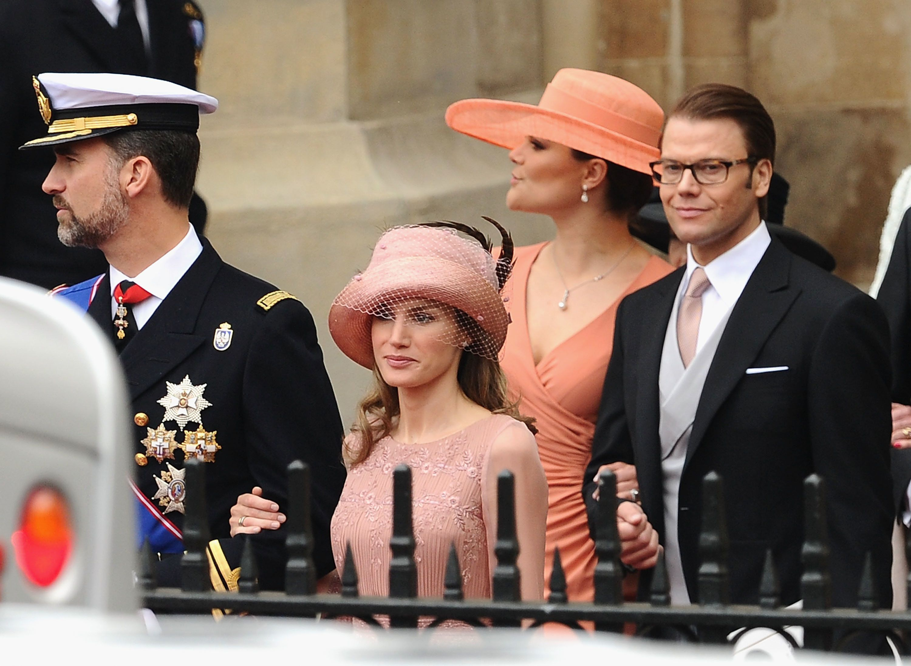 Then-Prince Felipe and then-Princess Letizia of Spain (now the king and queen) and Crown Princess Victoria and Prince Daniel