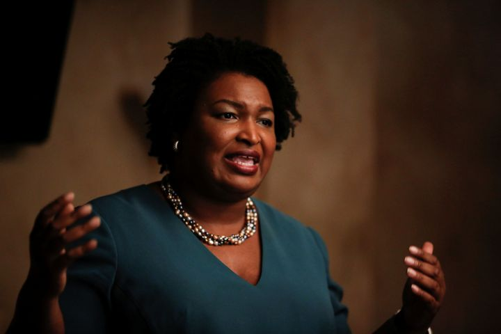 Stacey Abrams speaks at a Young Democrats of Cobb County meeting on Nov. 16, 2017.