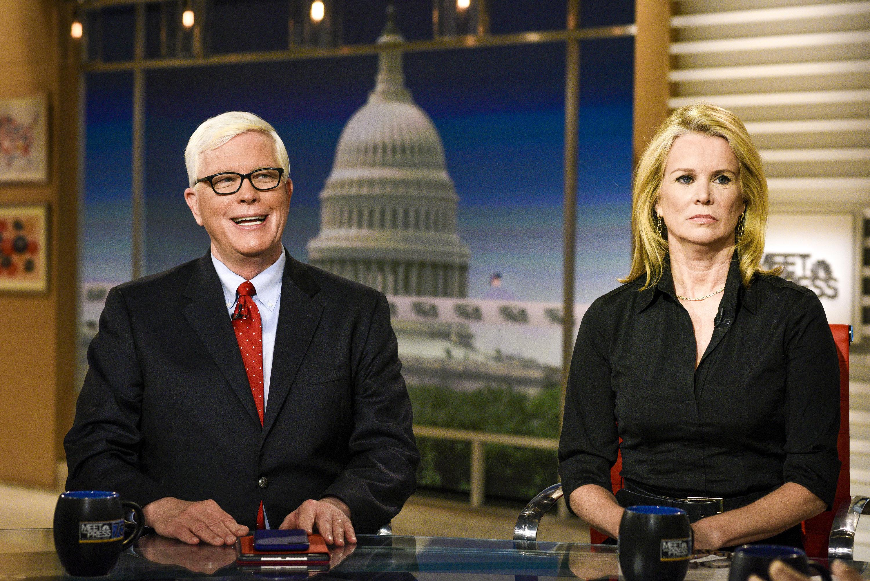 MEET THE PRESS -- Pictured: (l-r)   Hugh Hewitt, Host, MSNBCs Hugh Hewitt and Katty Kay, Anchor, BBC World News America appear on 'Meet the Press' in Washington, D.C., Sunday, July 2, 2017.  (Photo by: William B. Plowman/NBC/NBC NewsWire via Getty Images)