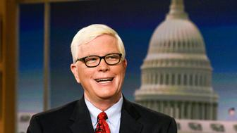 MEET THE PRESS -- Pictured: (l-r)   Hugh Hewitt, Host, MSNBCs Hugh Hewitt and Katty Kay, Anchor, BBC World News America appear on 'Meet the Press' in Washington, D.C., Sunday, July 2, 2017.  (Photo by: William B. Plowman/NBC/NBC NewsWire via Getty Images)
