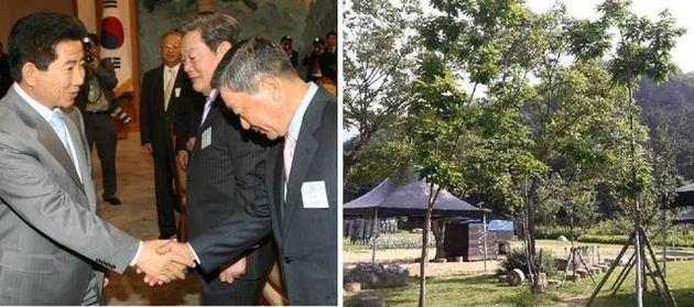 (왼쪽) 2006년 5월 청와대에서 열린 대중소기업 상생협력 보고회의에서 악수를 나누는 고 노무현 전 대통령과 고 구본무 LG회장. (오른쪽) 구본무 LG그룹 회장이 봉하마을에 보낸