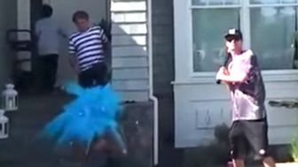 Gender Reveal Goes Wrong When Grandpa Takes An Exploding Pitch To The Face