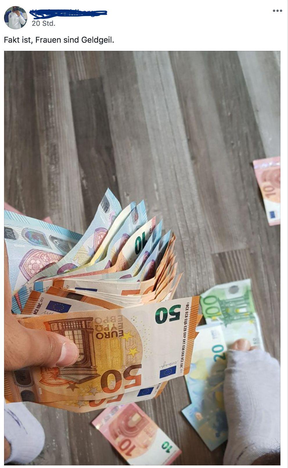 Mann will auf Facebook mit seinem Geld protzen – doch alle schauen nur auf seinen