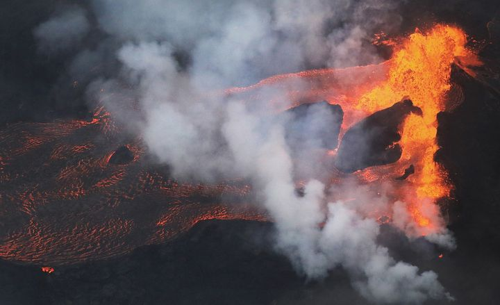 Lava flows from a Kilauea volcano fissure, toward the Pacific Ocean, on Hawaii's Big Island on May 21.