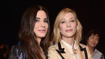 "LAS VEGAS, NV - APRIL 24: Actors Sandra Bullock (L) and Cate Blanchett attend CinemaCon 2018 Warner Bros. Pictures Invites You to ""The Big Picture"", an Exclusive Presentation of our Upcoming Slate at The Colosseum at Caesars Palace during CinemaCon, the official convention of the National Association of Theatre Owners, on April 24, 2018 in Las Vegas, Nevada.  (Photo by Alberto E. Rodriguez/Getty Images for CinemaCon)"