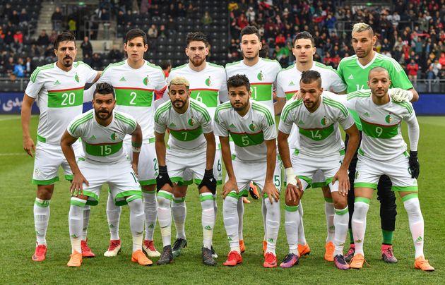 La sélection algérienneavant un match amical contre l'Iran, le 27 mars 2018 en