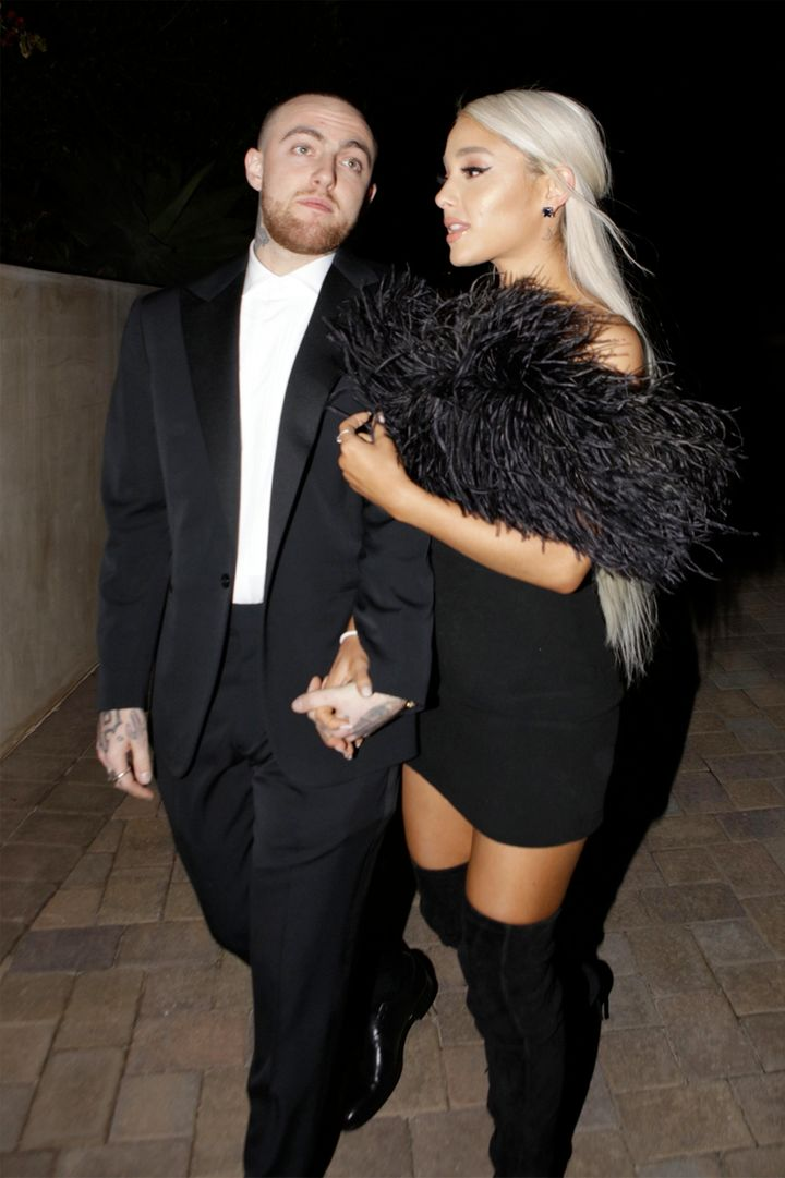 Rapper Mac Miller and singer Ariana Grande are seen attending an Oscar party in March.
