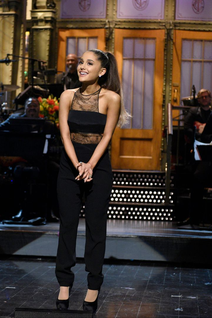 "Ariana Grande during her monologue on NBC's ""Saturday Night Live"" in March 2016."