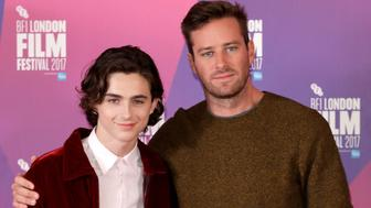LONDON, ENGLAND - OCTOBER 09:  Timothee Chalamet (L) and Armie Hammer attend a photocall for 'Call Me By Your Name' during the 61st BFI London Film Festival on October 9, 2017 in London, England.  (Photo by John Phillips/John Phillips/Getty Images for BFI)