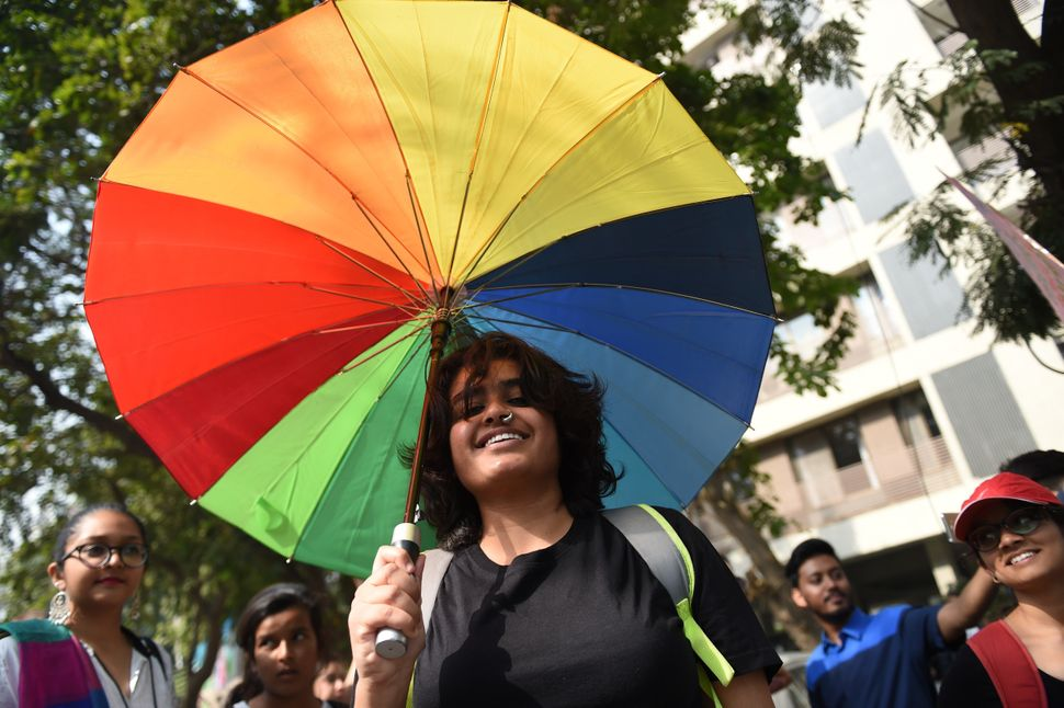 Indian members and supporters of the lesbian, gay, bisexual, transgender community take part in the 'Ahmedabad Queer Pride 20