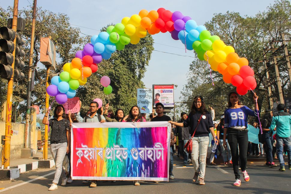 GUWAHATI, ASSAM, INDIA - 2018/02/11: 5th QUEER PRIDE Walk March through the streets to reclaim space for Lesbian, Gay, Bisexu