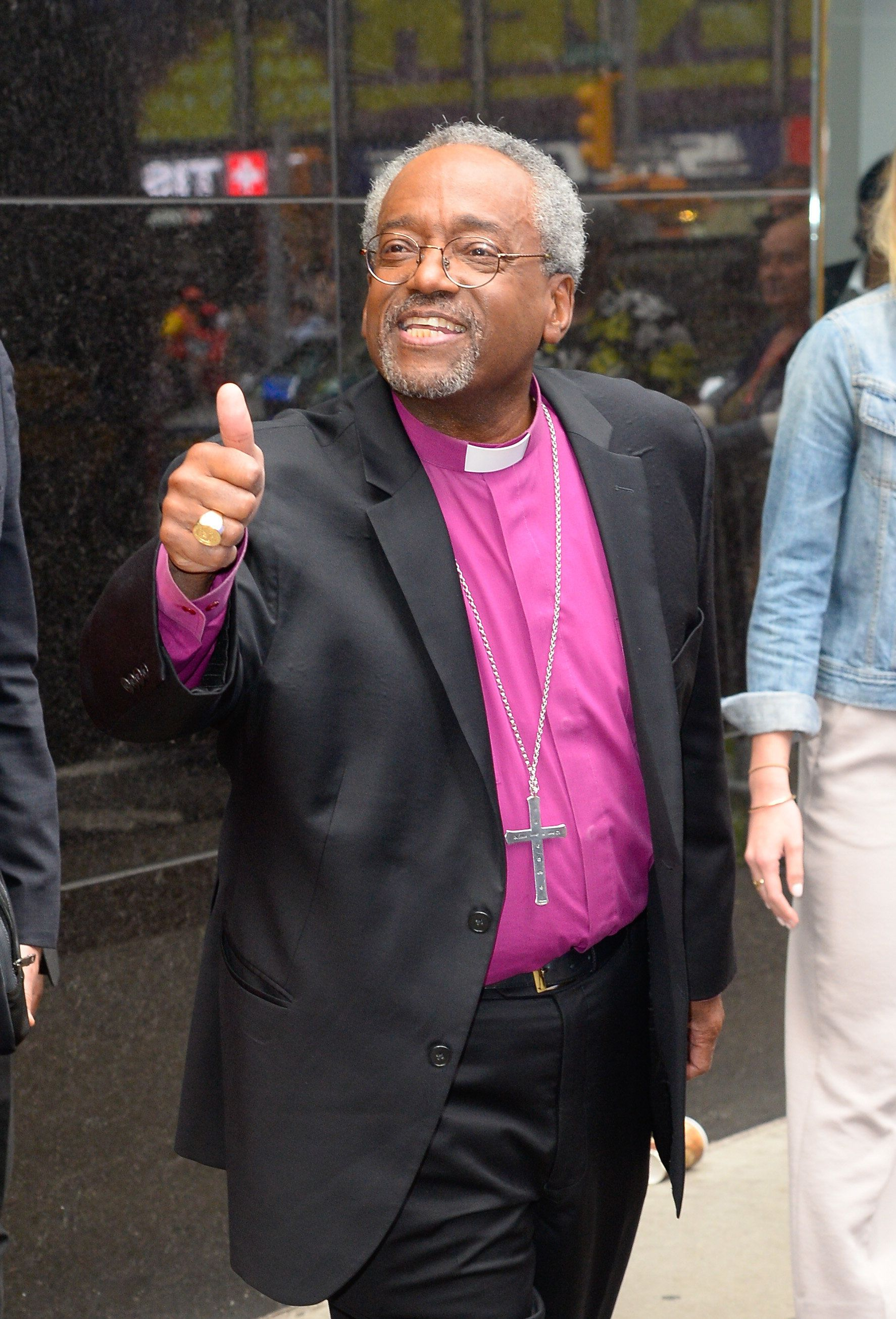 NEW YORK, NY - MAY 22:  Bishop Michael Curry is seen leaving 'Good Morning America' on May 22, 2018 in New York City.  (Photo by Raymond Hall/GC Images)