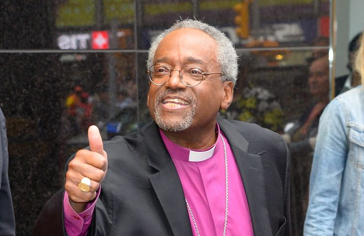 "Bishop Michael Curry, seen here after his Tuesday appearance on ABC's ""Good Morning America"" in New York,"" has been"