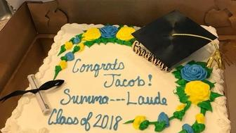 Jacob Koscinskis supermarket graduation cake -- censored
