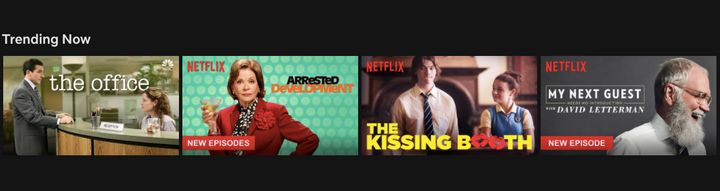 "Netflix's ""Trending Now"" section also includes personalization and I'm not sure what it says about me that I got ""The Kissing"