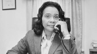 (Original Caption) Coretta Scott King widow of Dr. Martin Muther King Jr., sometimes prefaces a response to a question addressed to her with 'Martin Used to say,' But none that know her doubt that she is a leader in her own right.
