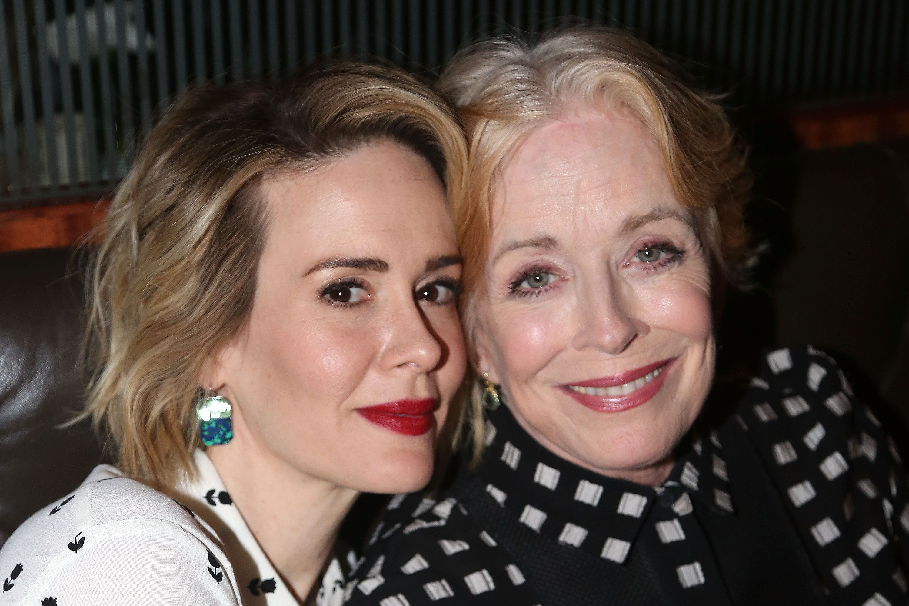 NEW YORK, NY - OCTOBER 20:  (EXCLUSIVE COVERAGE) Sarah Paulson and Holland Taylor pose at the Opening Night After-party for 'Ripcord' at The Brasserie 8 and 1/2 on October 20, 2015 in New York City.  (Photo by Bruce Glikas/FilmMagic)