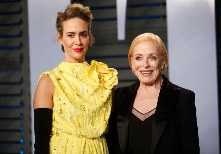 Sarah Paulson and Holland Taylor at the 2018 Vanity Fair Oscar Party.